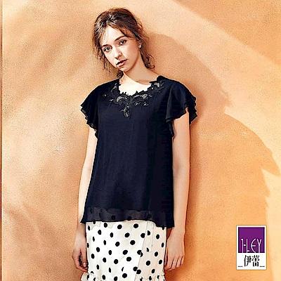 ILEY伊蕾 小蓋袖造型蕾絲裝飾圓領上衣(黑/水)