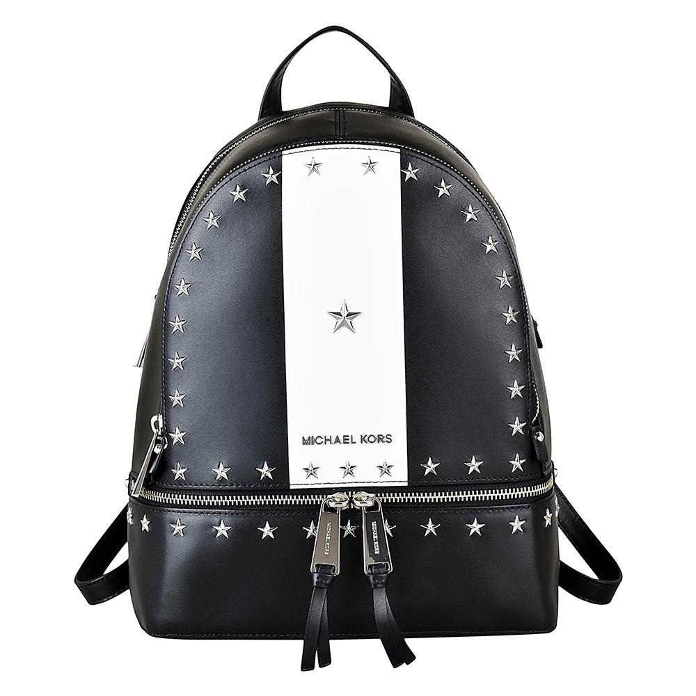 MICHAEL KORS RHEA ZIP金屬五角星雙色滑面皮革後背包(中/黑x白)