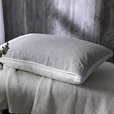 BBL100%棉.刺繡枕巾(霧晨灰)