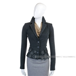 PAOLA FRANI 灰色花飾羊毛拼接西裝外套