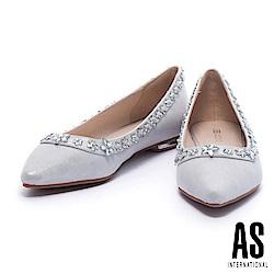 平底鞋 AS 清新浪漫晶鑽花卉排列設計羊皮尖頭平底鞋-銀