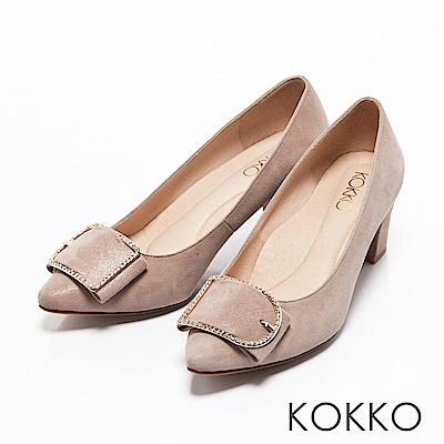 KOKKO -都會女神尖頭水鑽扣高跟鞋-輕柔粉