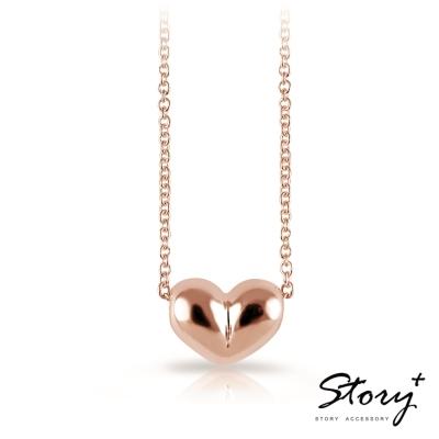 STORY故事銀飾-溫暖的心-純銀項鍊(玫瑰金)