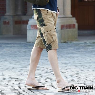 BIG TRAIN中大尺碼 加大軍事風貼袋短褲-男-卡其