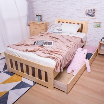 AS 芝妮雅3.5尺雙色實木抽屜板床 107x196x91cm