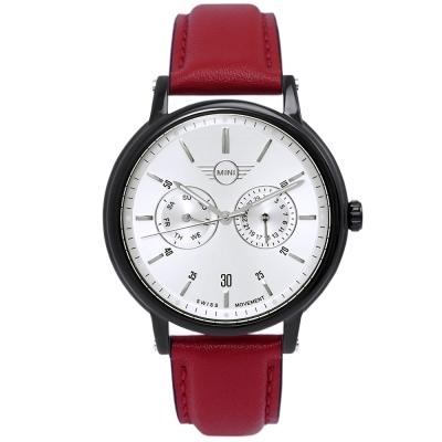 MINI Swiss Watches Cooper英倫風時尚雙環手錶-銀X紅/42mm