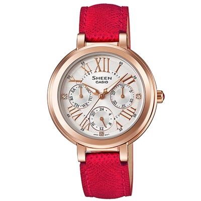 SHEEN完美閃耀羅馬時刻施華洛世奇腕錶(SHE-3034GL-7B)紅x金框/34mm