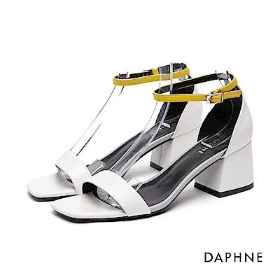 達芙妮DAPHNE 涼鞋-撞色一字繞踝粗高跟涼鞋-白