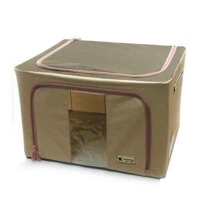 簡約摺疊衣物收納箱(66公升) (米色)2入