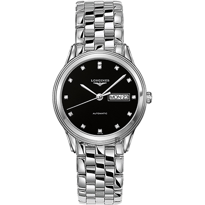 LONGINES浪琴 Flagship旗艦真鑽機械錶-黑x銀/38.5mm