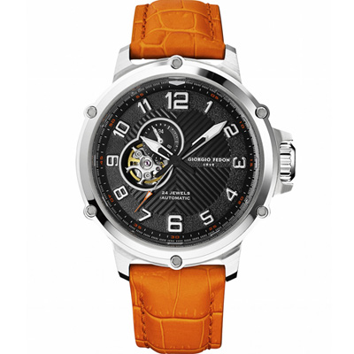 GIORGIO FEDON 1919 義大利經典機械腕錶-黑x橘色/45mm