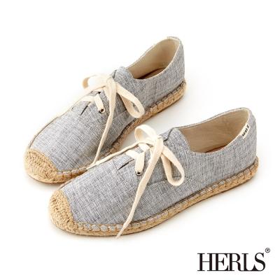 HERLS-夏日清新帆布綁帶麻編鞋-灰色