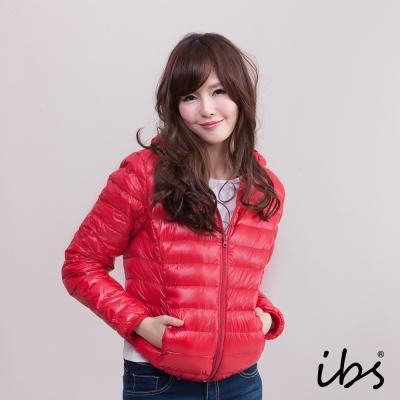 ibs 極輕量純白絨連帽羽絨外套-紅色-女