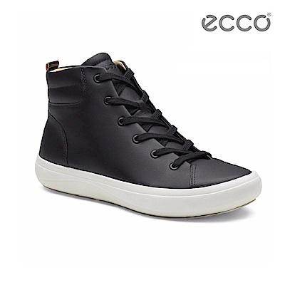 ECCO KINHIN 清新系列高筒休閒鞋-黑