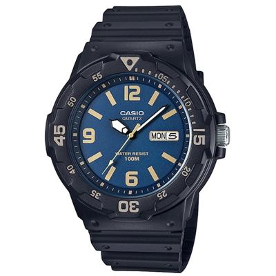 CASIO 潛水風指針錶(MRW-200H-2B3)-藍面X金時刻度/47.9mm