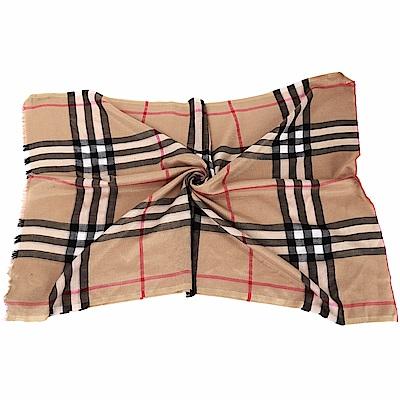 BURBERRY 駝金色金屬感格紋絲綢羊毛圍巾/披肩