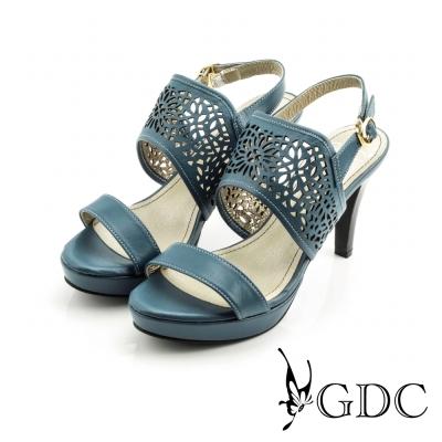 GDC-經典真皮縷空雕花一字高跟涼鞋-藍色