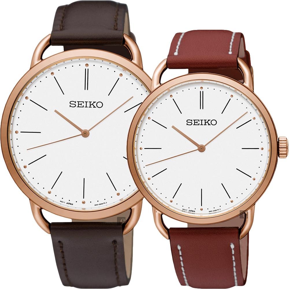 SEIKO精工 城市時尚薄型對錶(SUR234P1+SUR238P1)-38+35mm