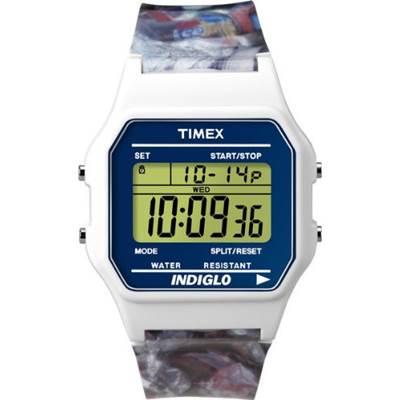 TIMEX 蘇活塗鴉復古方形電子腕錶-白/36mm