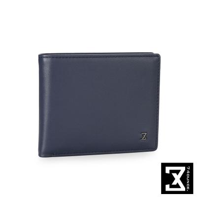 74盎司 Plain 系列平紋真皮短夾[N-465]藍色