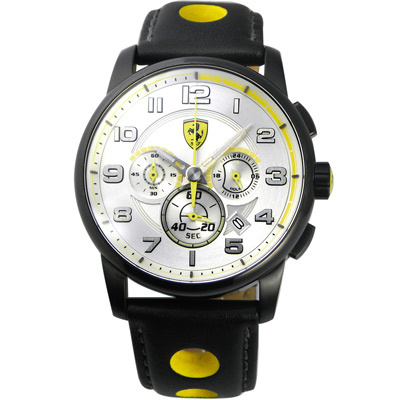 Scuderia Ferrari 法拉利 義式精神三眼計時賽車錶-銀x黑/44mm