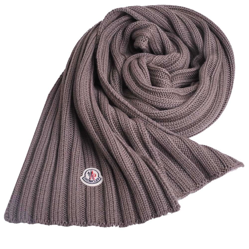 MONCLER 經典品牌圖騰羊毛直紋造型圍巾(灰褐色)
