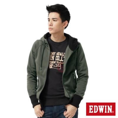 EDWIN運動百搭配色羅紋連帽外套-男款-灰綠