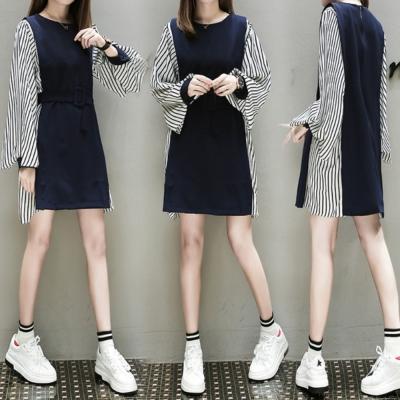 中大尺碼兩側藍白條紋拼接喇叭束袖假兩件連身洋裝XL~4L-Ballet Dolly