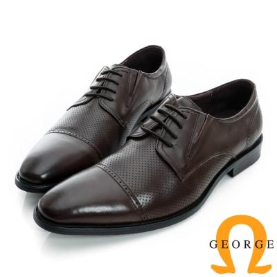 GEORGE-側V切口洞洞拼接綁帶真皮紳士鞋-咖啡色
