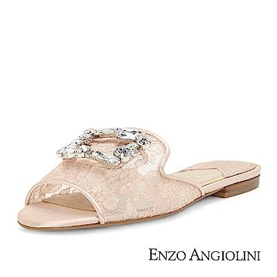 ENZO ANGIOLINI--蕾絲方鑽魚口平底涼拖鞋-甜美粉