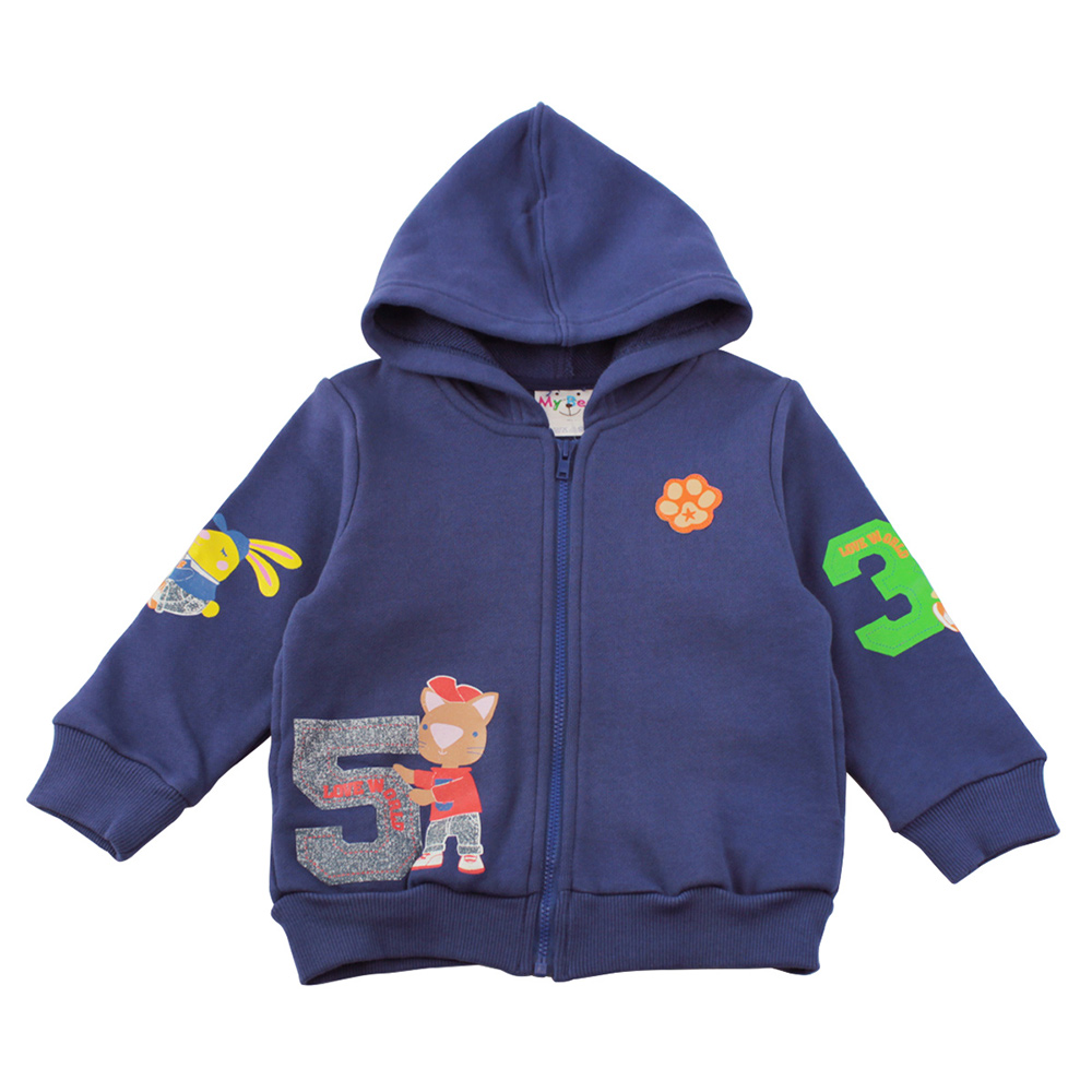 愛的世界 MYBEAR 純棉數字動物運動連帽外套/3-4歲-台灣製-