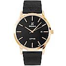 SIGMA 簡約藍寶石鏡面米蘭帶男手錶-黑X金/41mm