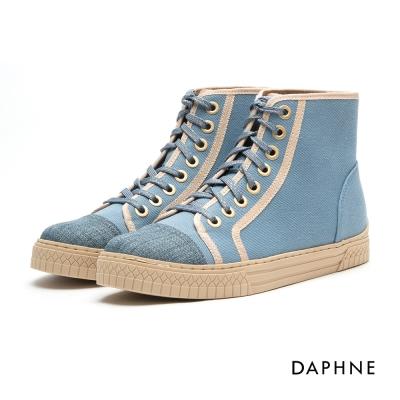 達芙妮DAPHNE 休閒鞋-布面繫帶平底高筒休閒鞋-藍