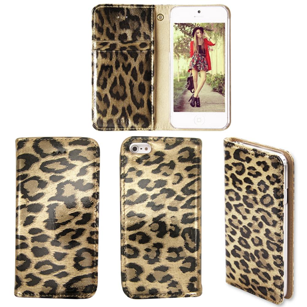 韓國 LKUN APPLE iPhone5/5S/SE 簡約時尚牛皮手機皮套 經典豹紋(兩色)