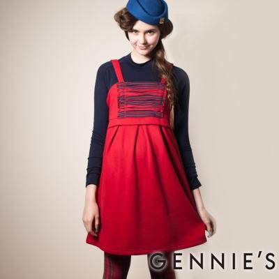 Gennies奇妮-Gennies系列- 刷毛暖感甜美秋冬背心洋裝(G2420)-紅