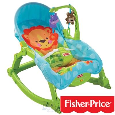【麗嬰房】費雪Fisher-Price 可愛動物可攜式兩用安撫躺椅