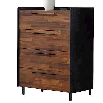 品家居 依塔2.4尺木紋雙色四斗櫃-72x43x100cm免組