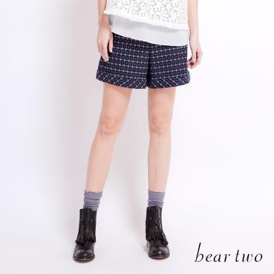 beartwo 復古高腰細格紋修飾短褲(中藍)-動態show