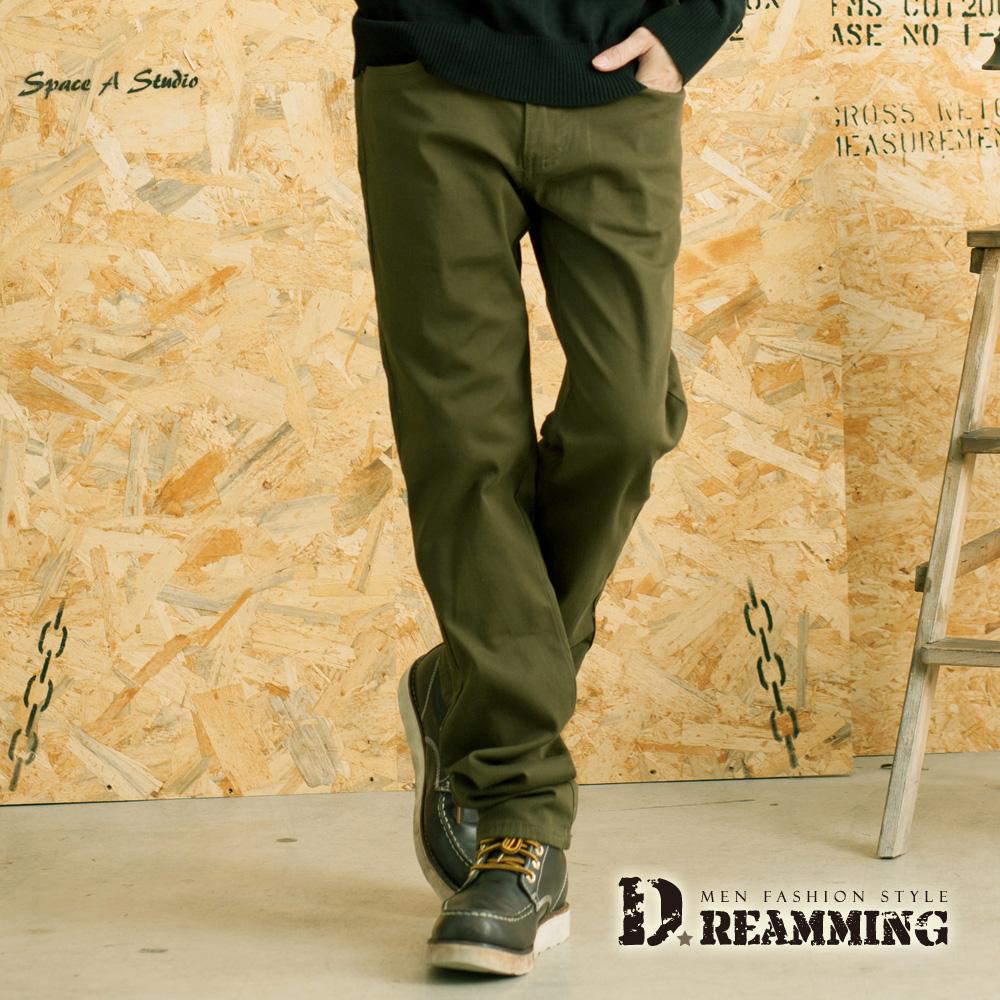 Dreamming 極簡百搭素面彈力休閒長褲-軍綠