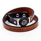 DIESEL 懷舊咖啡色系雙環皮革手環