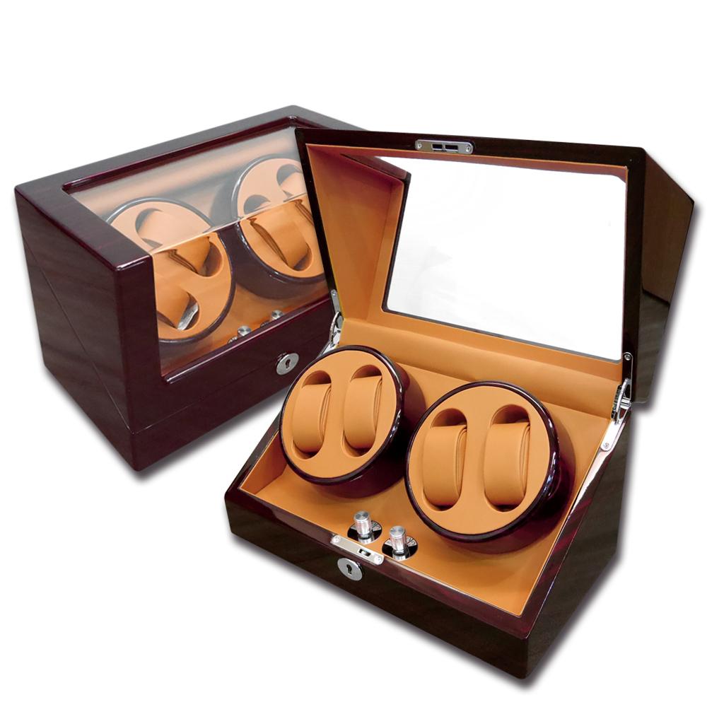 機械錶自動上鍊收藏盒 2旋4入錶座轉動 鋼琴烤漆 - 黃棕x木紋紅褐