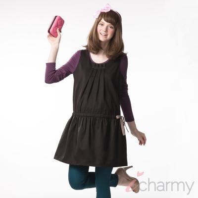愛俏咪I charmy 深咖啡典雅打摺造型背後拉鍊腰圍修身束口蝴蝶結背心洋裝