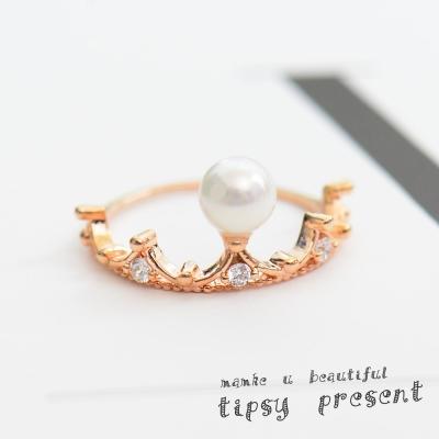 微醺禮物 鋯石 單顆珍珠皇冠 戒指