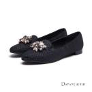 達芙妮DAPHNE 平底鞋-閃點蛇紋水鑽飾釦樂福鞋-黑
