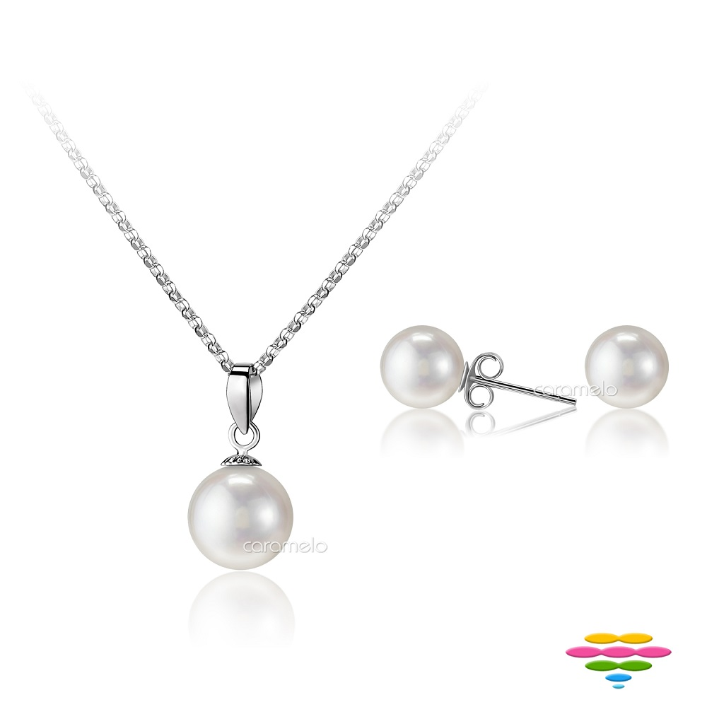 彩糖鑽工坊 6-7mm 淡水珍珠項鍊&耳環套組 馨愛系列