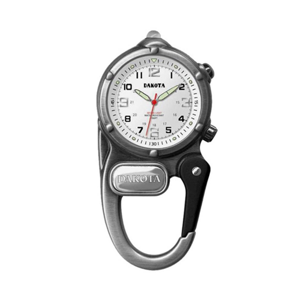 DAKOTA迷你掛勾系列微光軍事撥號銀色錶盤銀色框登山錶掛錶40mm