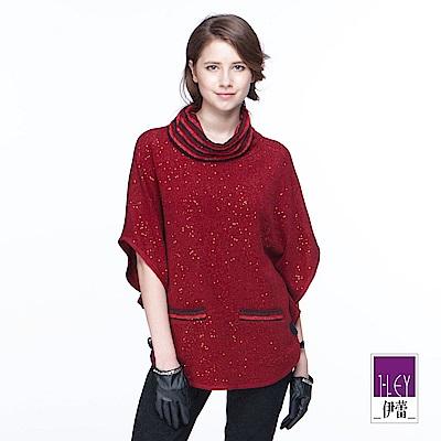 ILEY伊蕾 條紋翻領鑲蔥連袖上衣(紅)