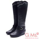G.Ms. 牛皮刺繡波浪靴筒皮帶小坡跟長靴-黑色