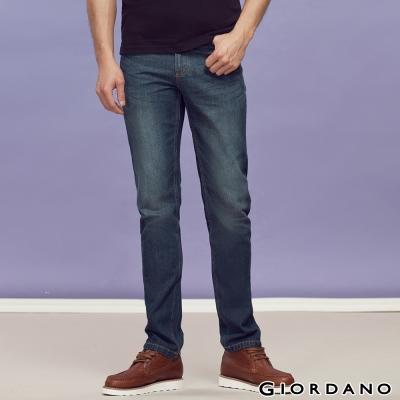GIORDANO男裝中腰標準直筒牛仔褲-56深藍