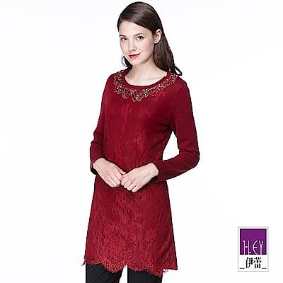 ILEY伊蕾 細緻蕾絲針織長版衫(黑/紅)